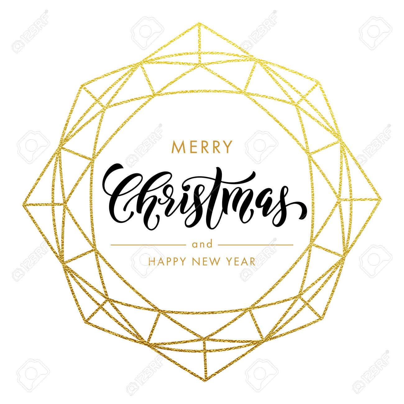 Feliz Navidad, Feliz Año Nuevo Brillo Del Oro Guirnalda, Tendencia ...