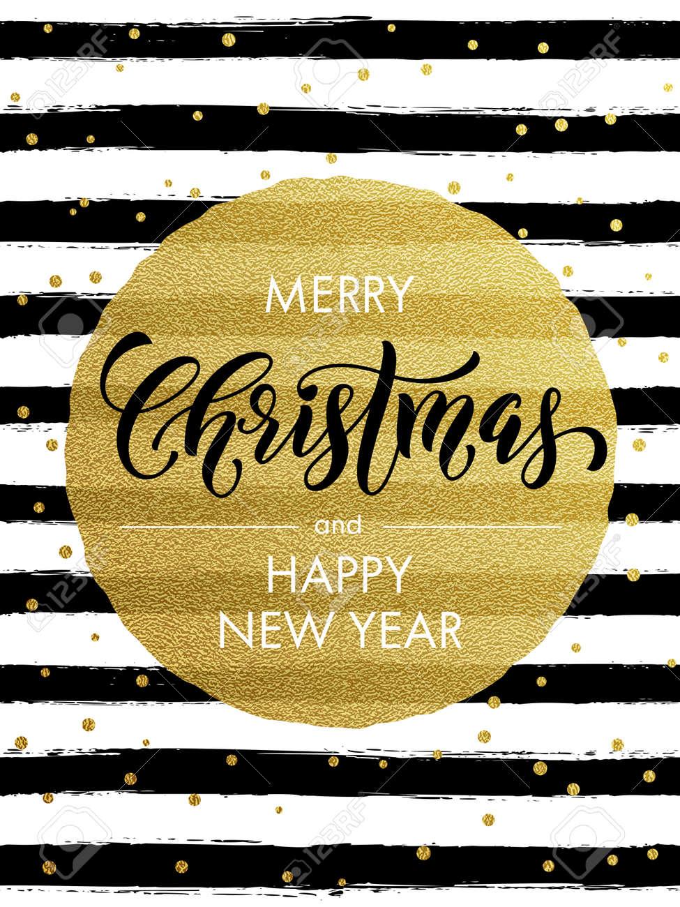 Feliz Navidad, Papel De Brillo Del Oro Tarjeta De Felicitación ...