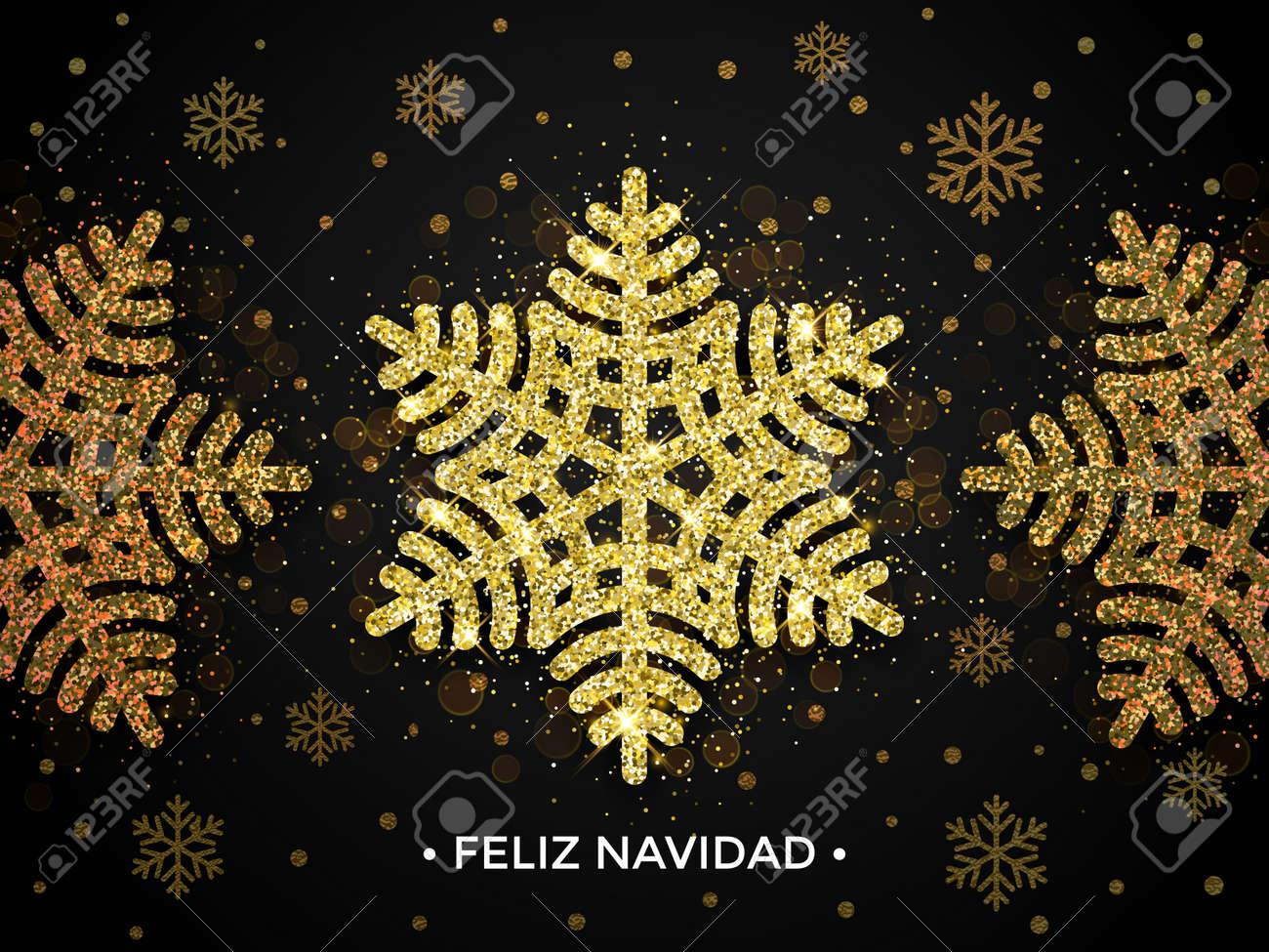 Feliz Navidad Greeting Card With Golden Snowflakes Merry Christmas