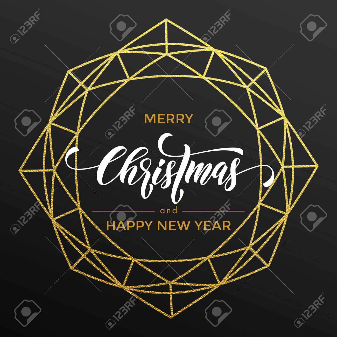 golden christmas decoration of geometric wreath with gold glitter happy new year greeting card poater