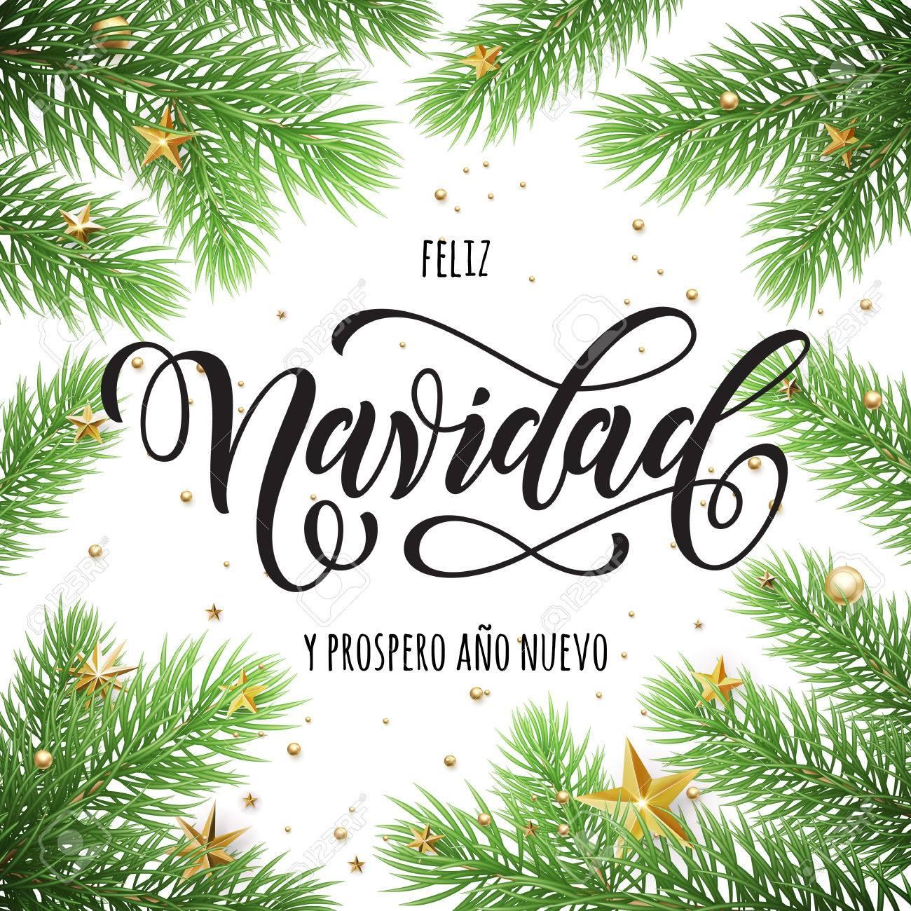 Feliz Navidad Joyeux Noel 2019.Feliz Navidad Et Prospero Ano Nuevo Espagnol Joyeux Noel Et Bonne Annee Dans Le Cadre De Branches D Arbres Carte De Voeux De Noel Festive Avec