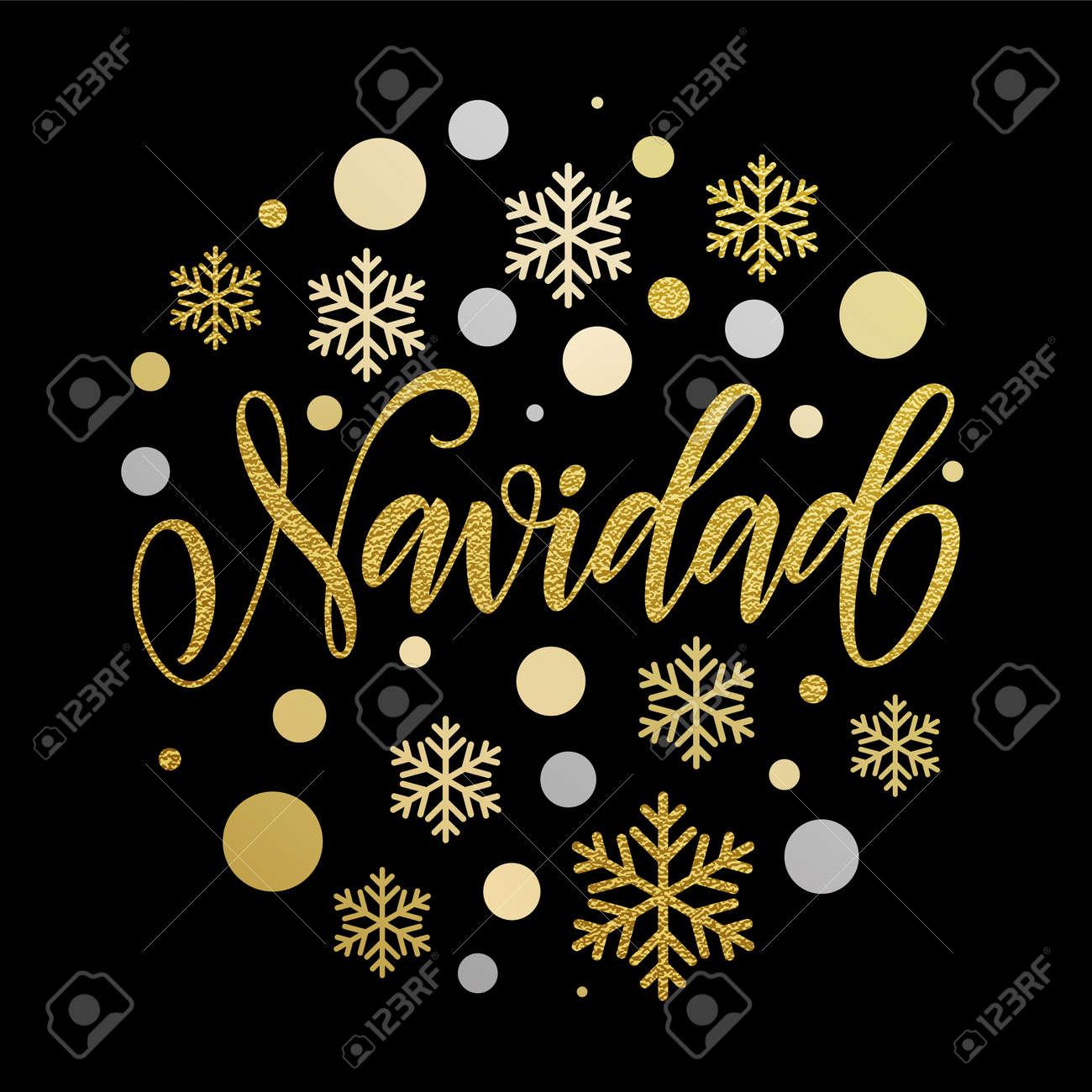 Frohe Weihnachten In Spanisch Gruß. Navidad Karte Mit Goldenen ...