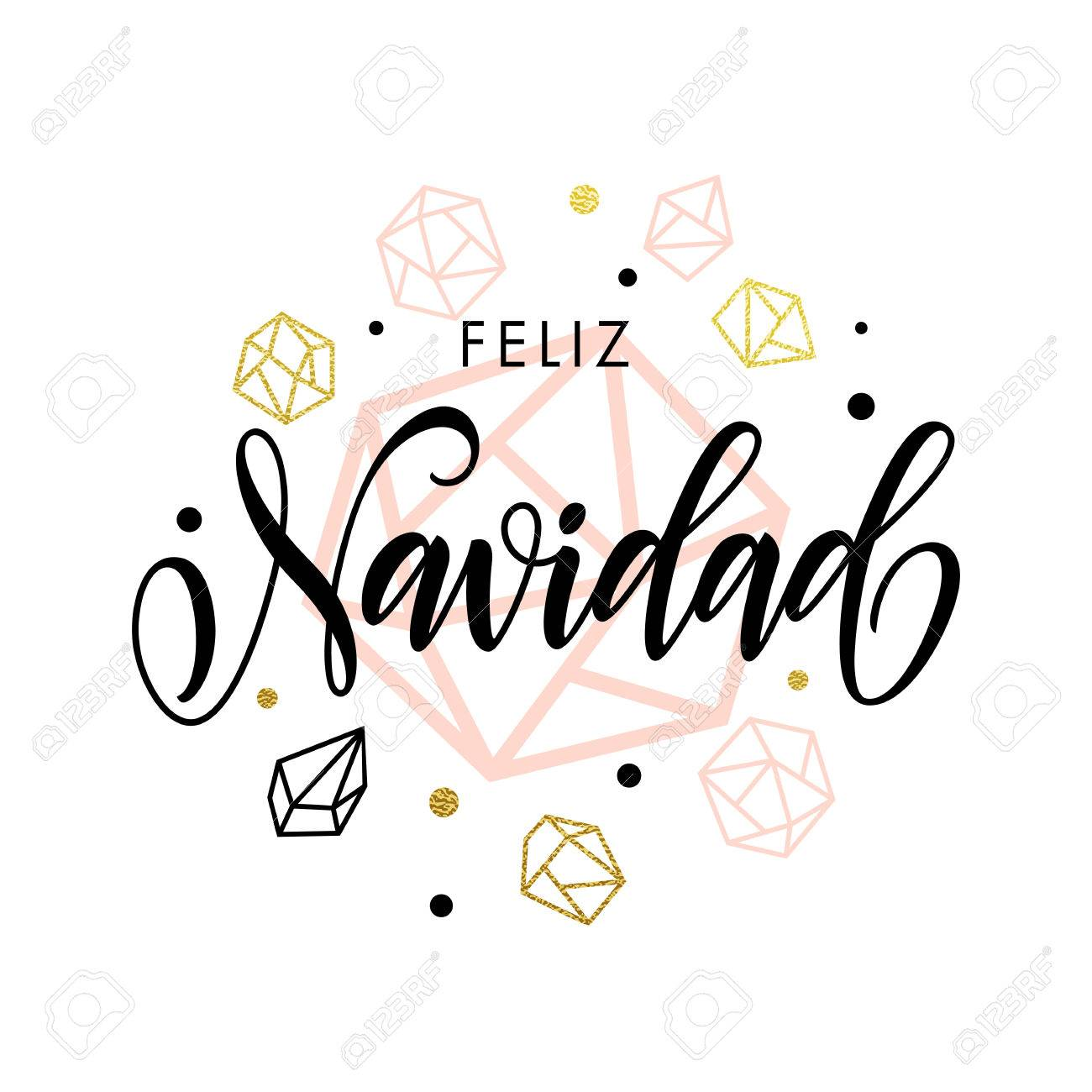 spanish merry christmas feliz navidad greeting card with calligraphy