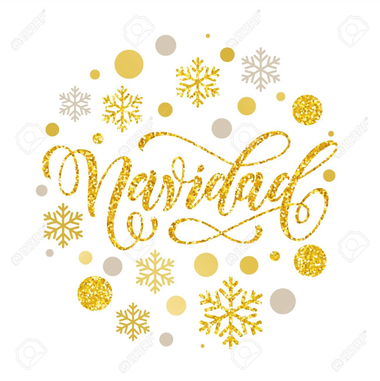 Navidad Noël Espagnol Lettrage Carte De Voeux Avec D'or Et D