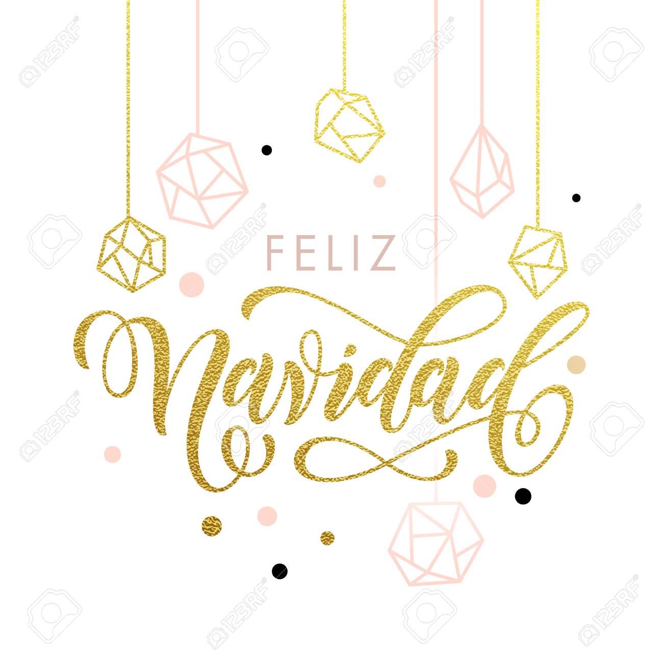 Spanish Merry Christmas Feliz Navidad Greeting Cards With Gold ...