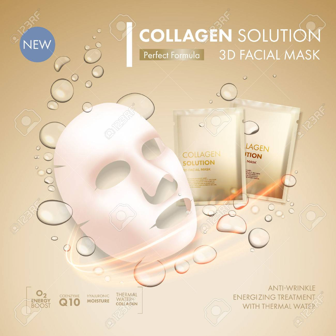 Facial Mask Sheet With Gold Collagen Sachet On Golden Water Oil Royalty Free Cliparts Vectors And Stock Illustration Image 66973657
