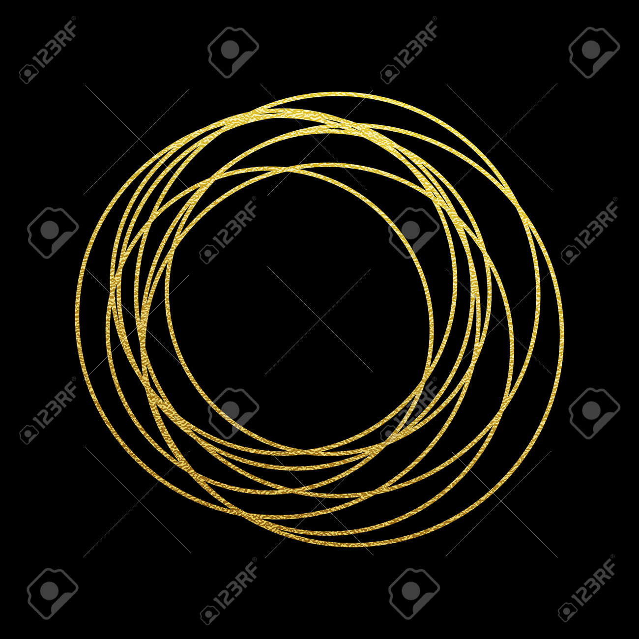 Abstract golden circles and rings of gold foil gilding texture. Sparkling twirl design elements for interior decoration, festive background for New Year and Chritmas cards ornaments - 66973663
