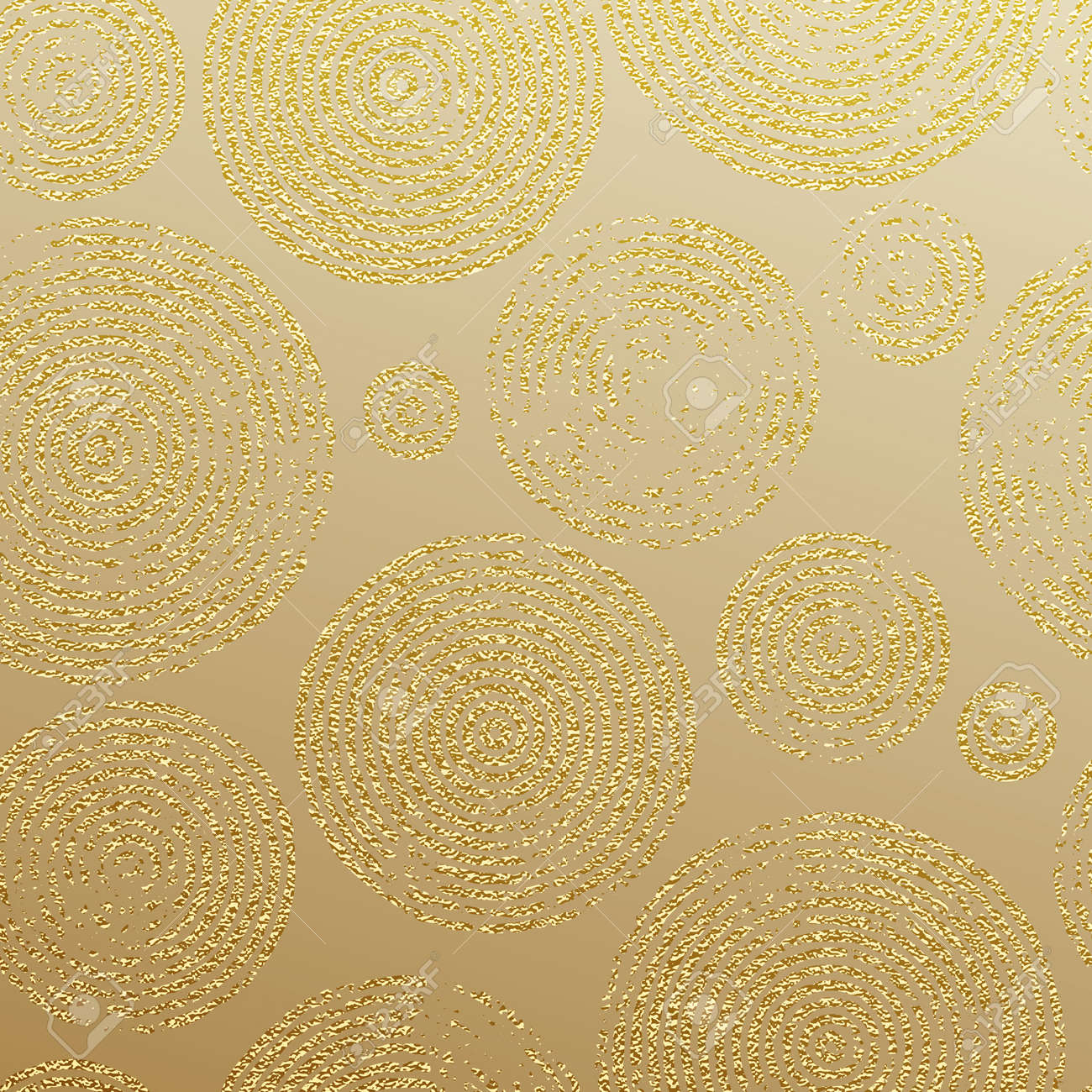 Golden Rings With Gold Glitter Texture. Seamless Pattern For ...