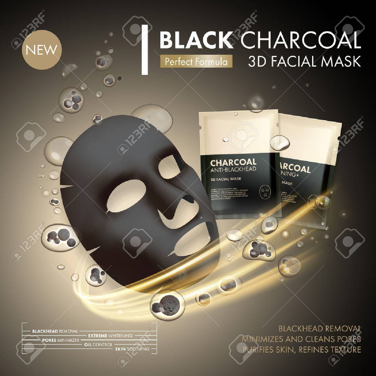 Anti-blackhead charcoal mask with black and gold sachet on golden water oil bubble with charcoal granule background. Skincare cleaning detox treatment. Face skincare premium ad design template - 66129692