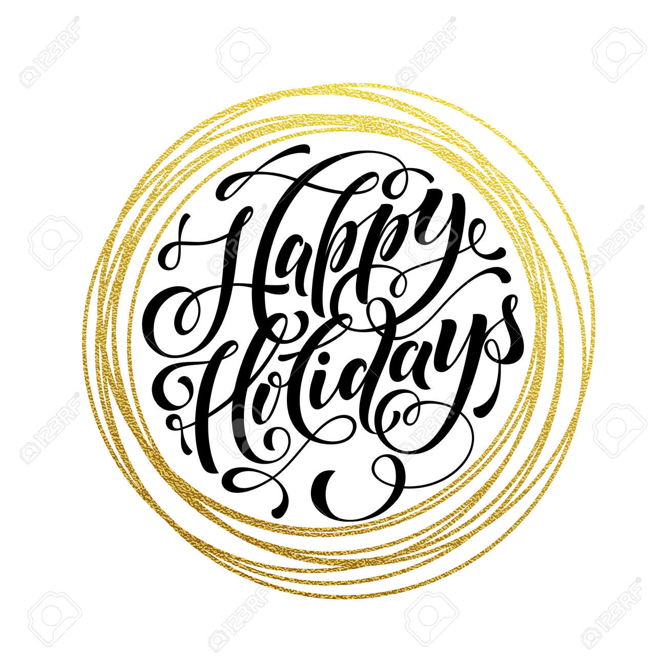 happy holidays gold greeting card golden sparkling decoration rh 123rf com happy holidays calligraphy vector happy holidays vector art free