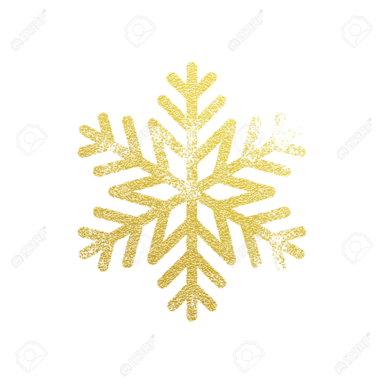 Snowflake with gold glitter texture  Christmas, New Year golden