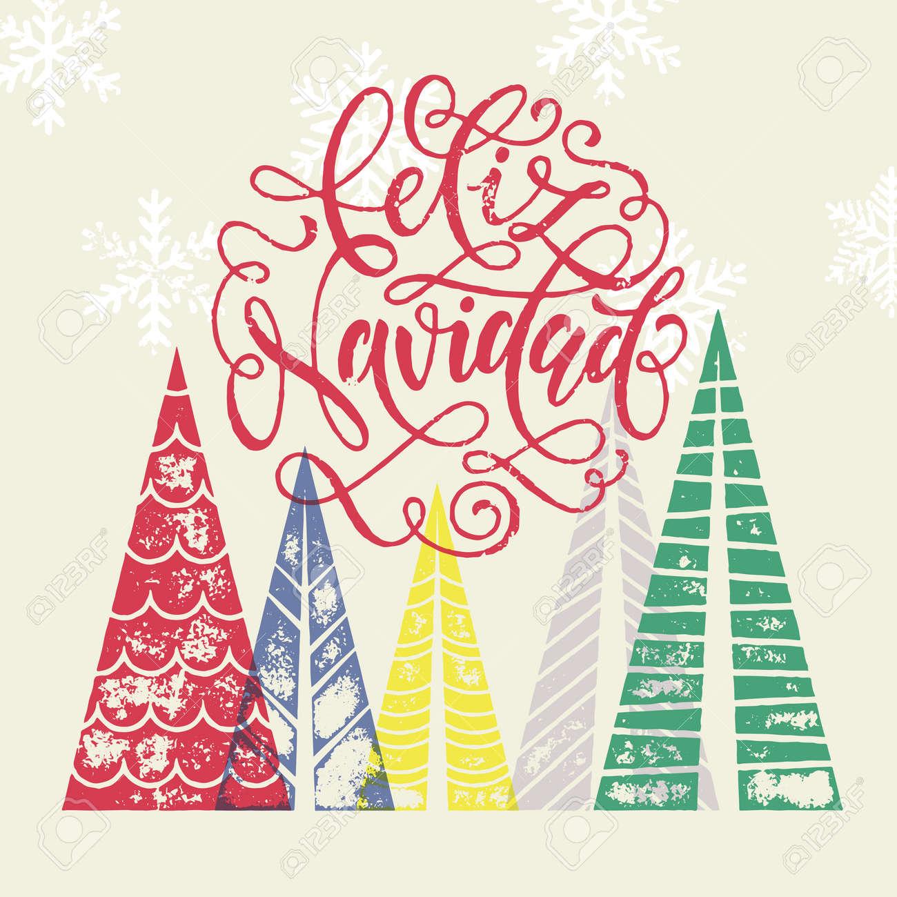 Spanish Winter Holidays Greeting Card With Text Feliz Navidad