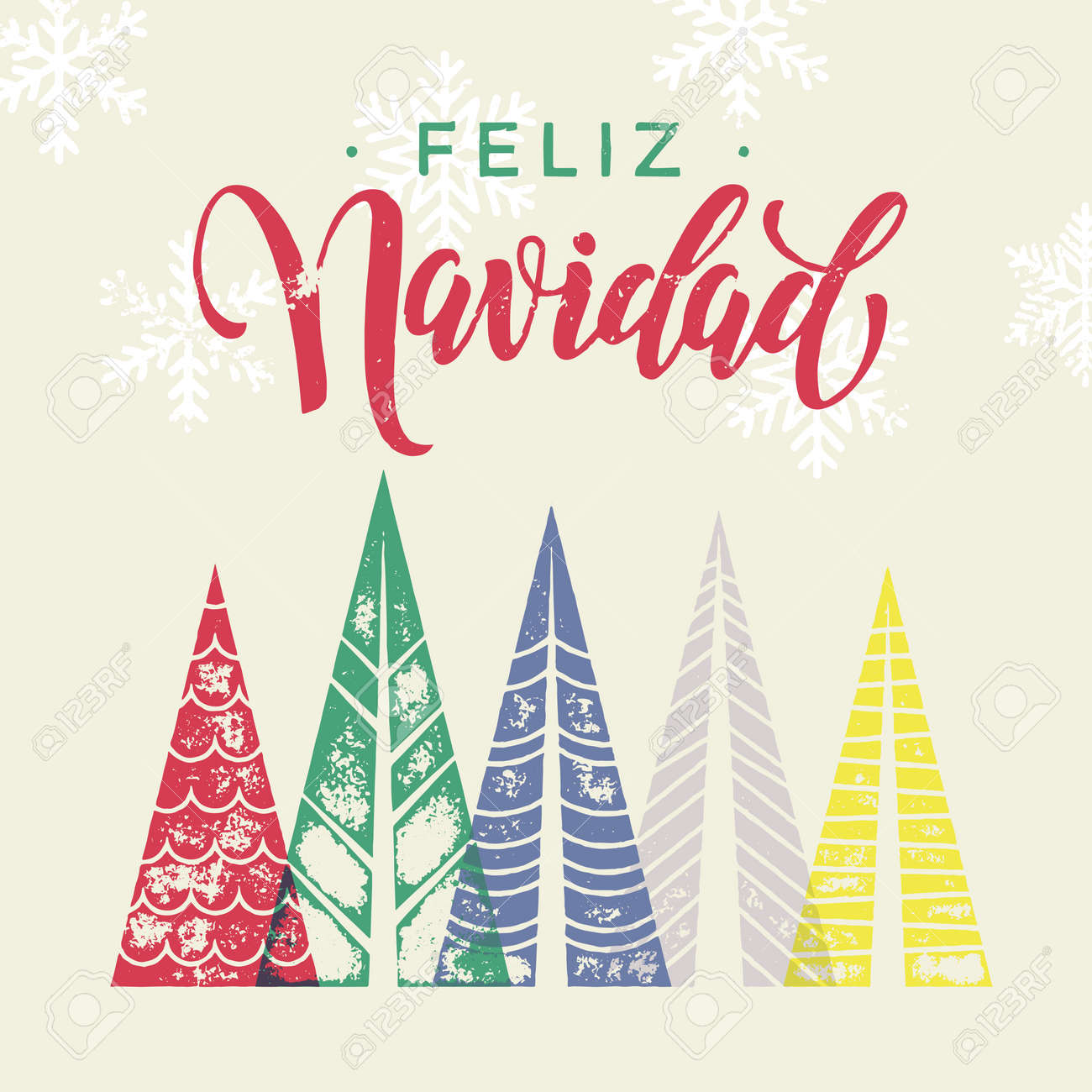 Spanish winter holidays greeting card with text feliz navidad spanish winter holidays greeting card with text feliz navidad and christmas trees forest in geometric m4hsunfo