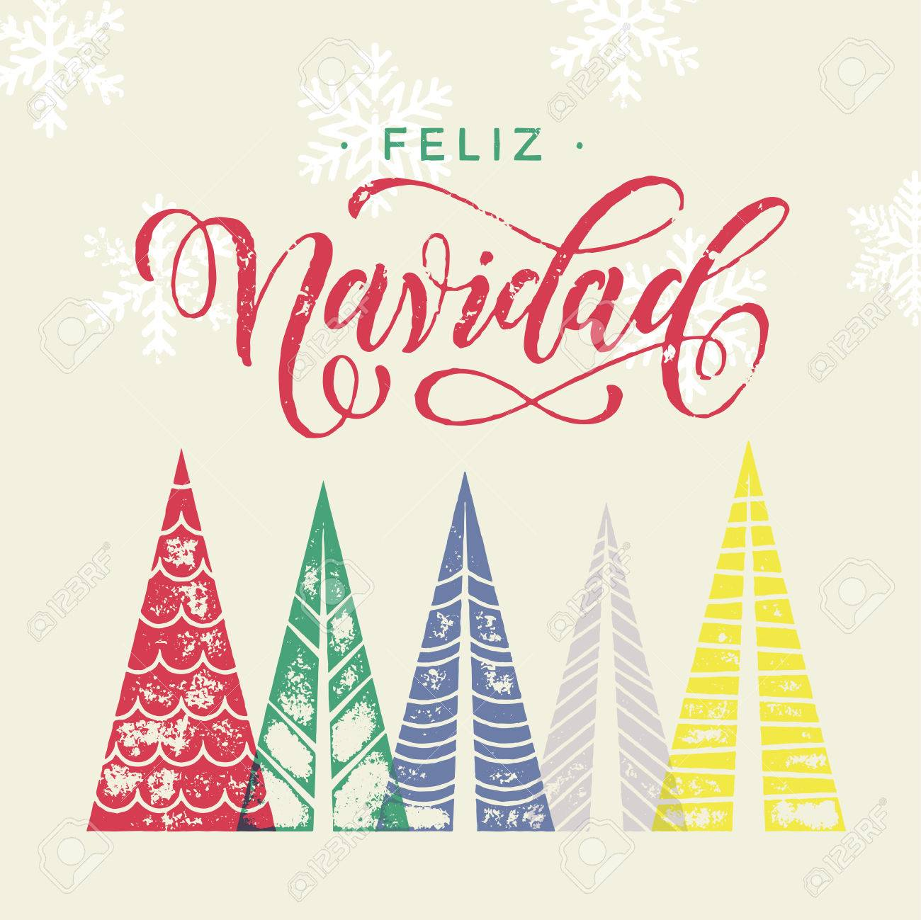 Colorful winter holiday spanish greeting card feliz navidad colorful winter holiday spanish greeting card feliz navidad merry christmas in spain text christmas tree kristyandbryce Images
