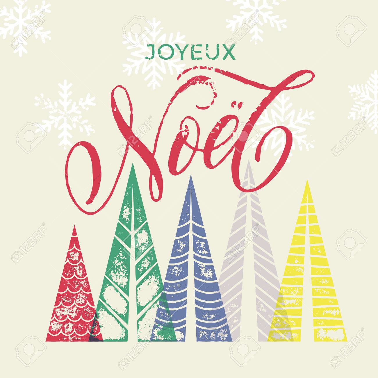 Joyeux Noel Colorful French Winter Holiday Spanish Greeting Card