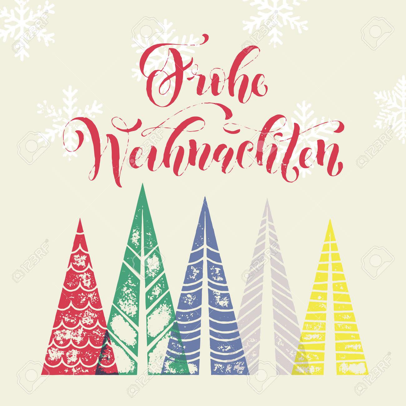 Fête De Noël Allemand Frohe Weihnachten Carte De Voeux. Vacances D