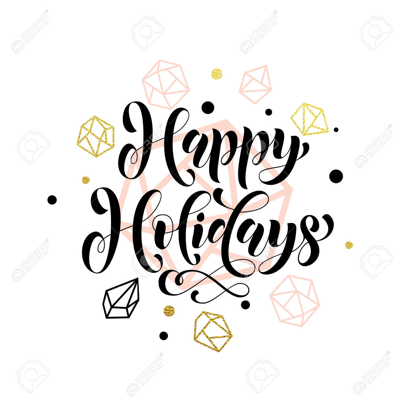 Gold lettering for greeting card for winter holidays happy holidays gold lettering for greeting card for winter holidays happy holidays greeting text with christmas m4hsunfo