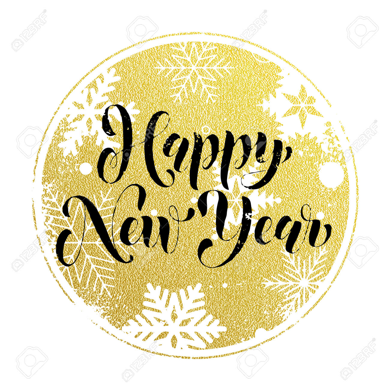 Greeting For Happy New Year Of Winter Golden And Silver Crystal