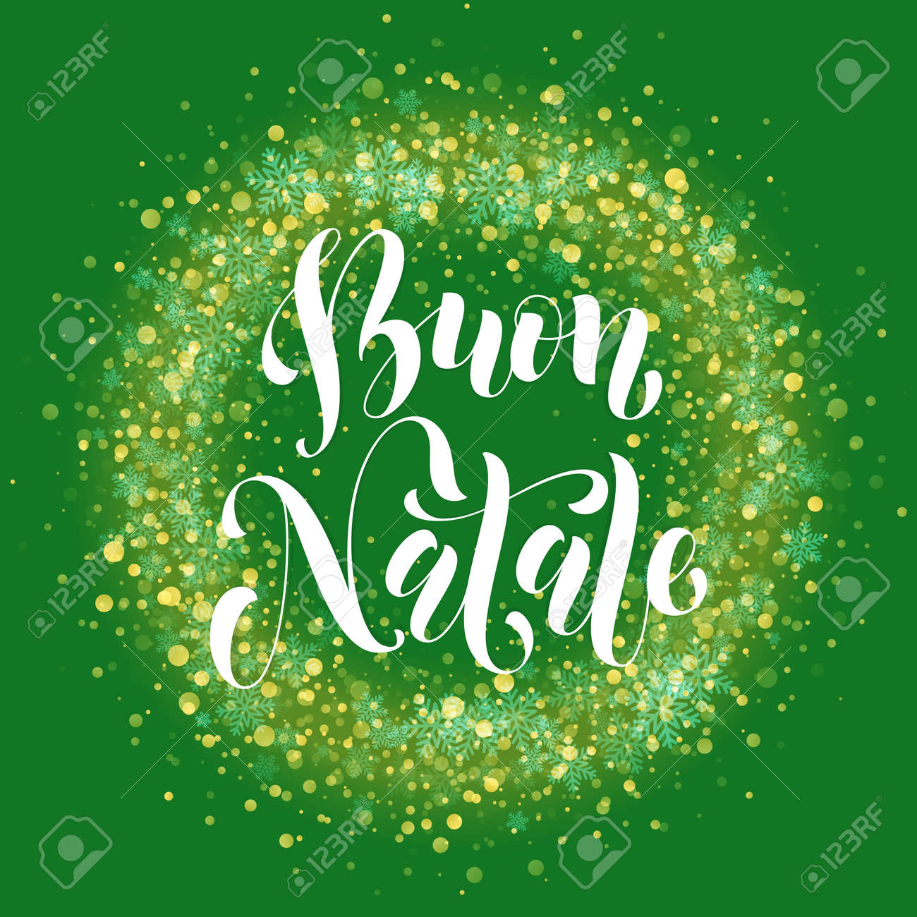 Buon Natale Glitter.Italian Merry Christmas Text Buon Natale Wreath Ornament Decoration Royalty Free Cliparts Vectors And Stock Illustration Image 66973450