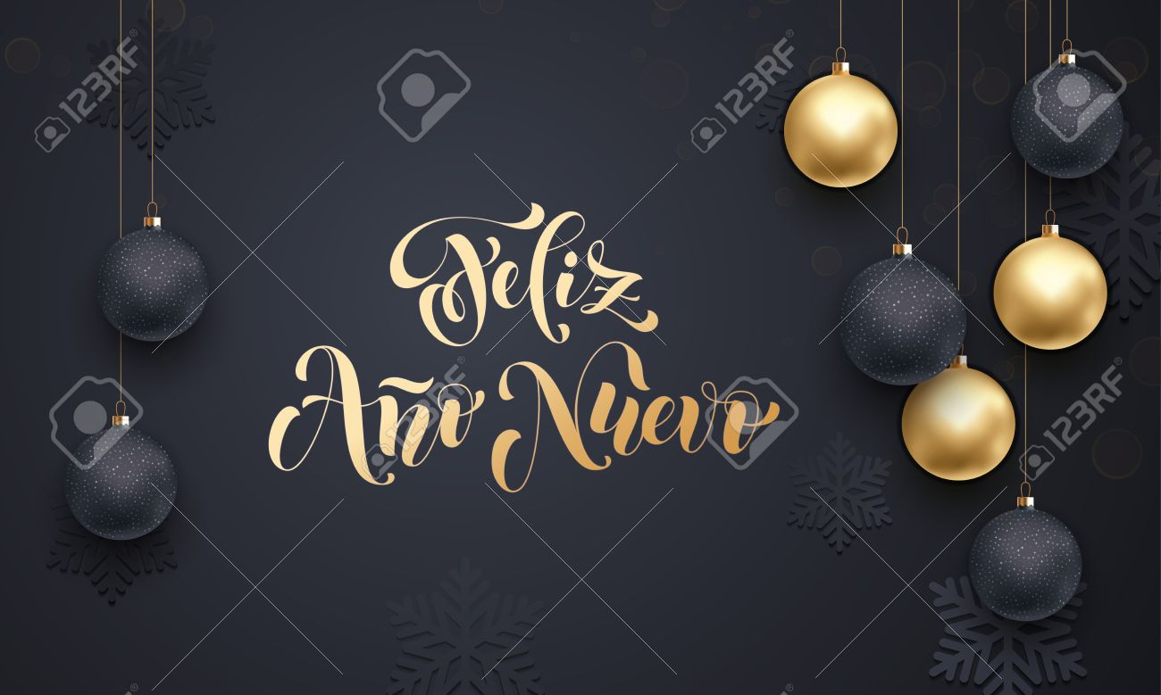 spanish happy new year feliz ano nuevo golden decoration ornament with christmas ball on vip black