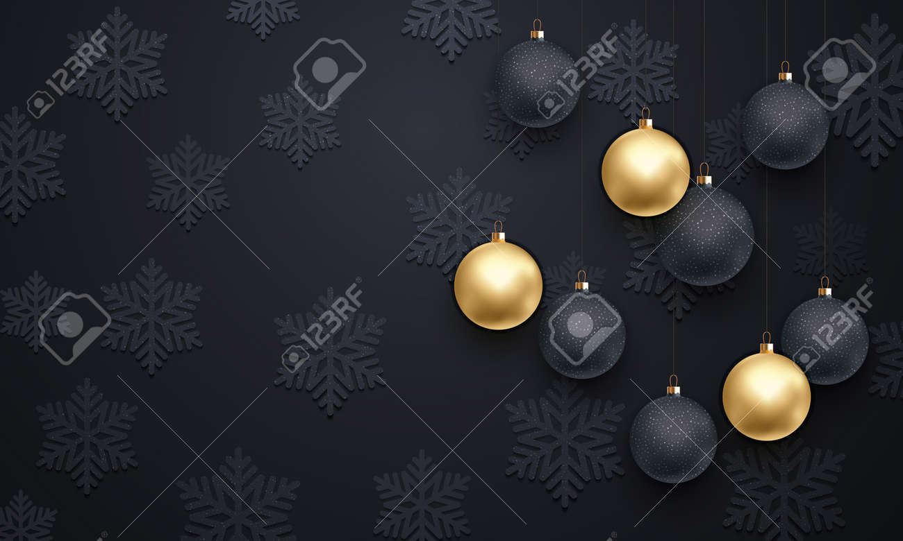 Golden Decoration Pattern Of Black Snowflake Gold Christmas