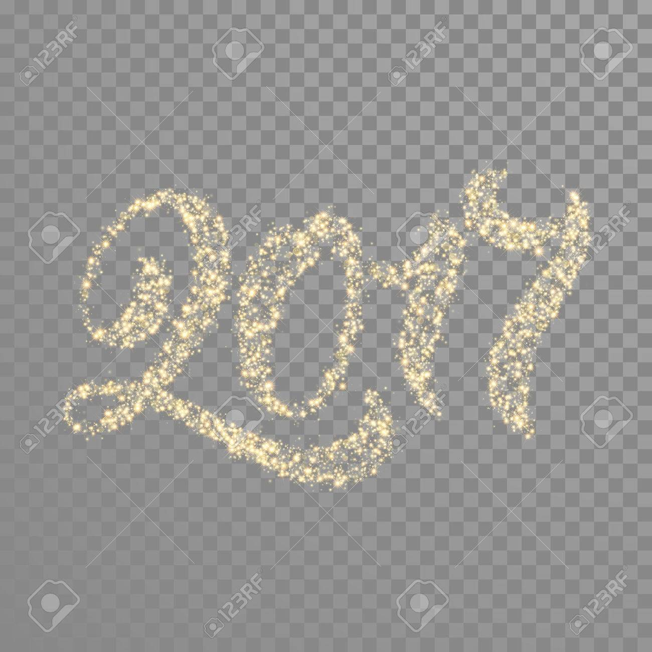 Gold glitter calligraphy text lettering for New Year greeting