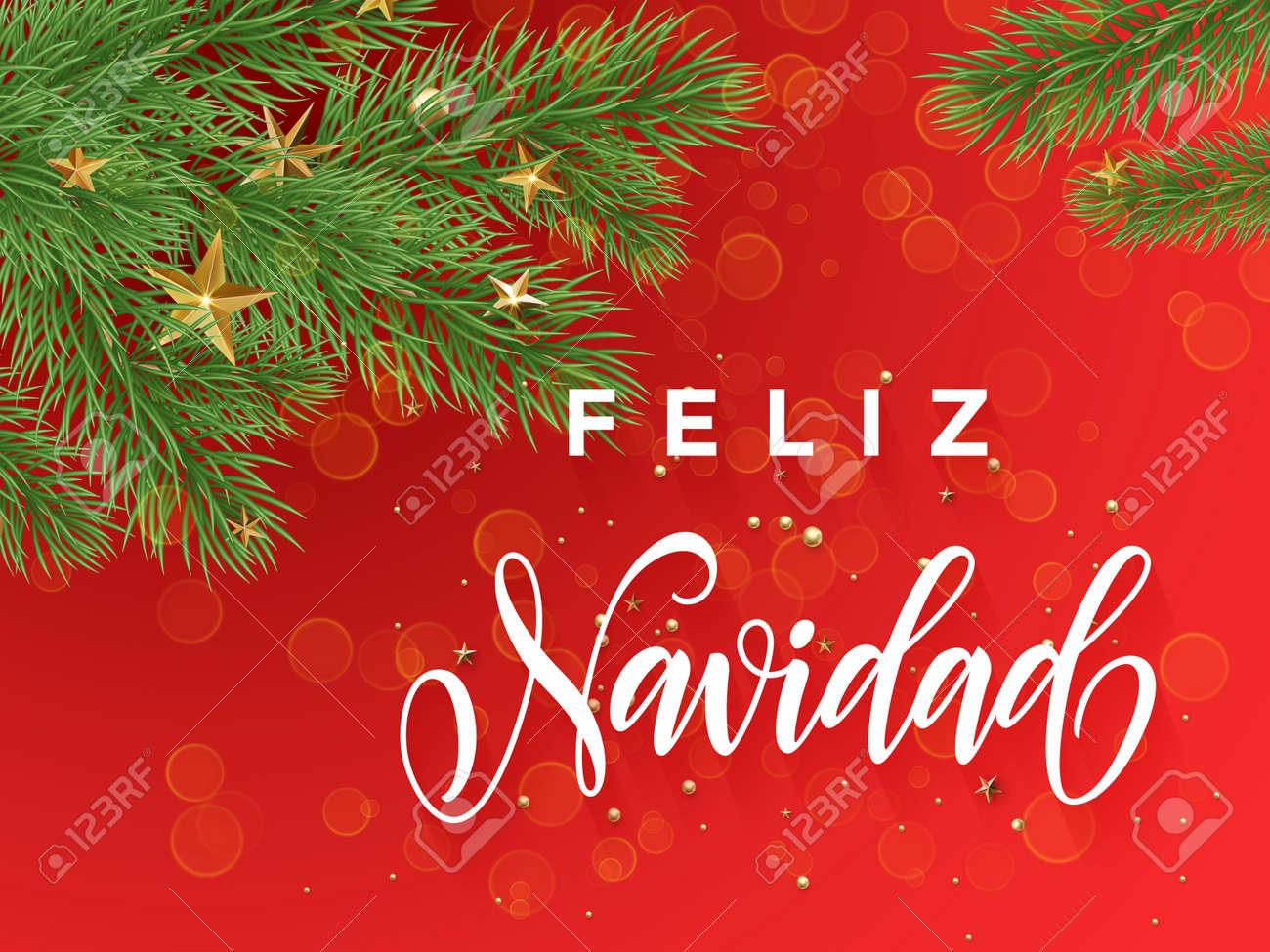 Spanish Merry Christmas Feliz Navidad Text Greeting Calligraphy