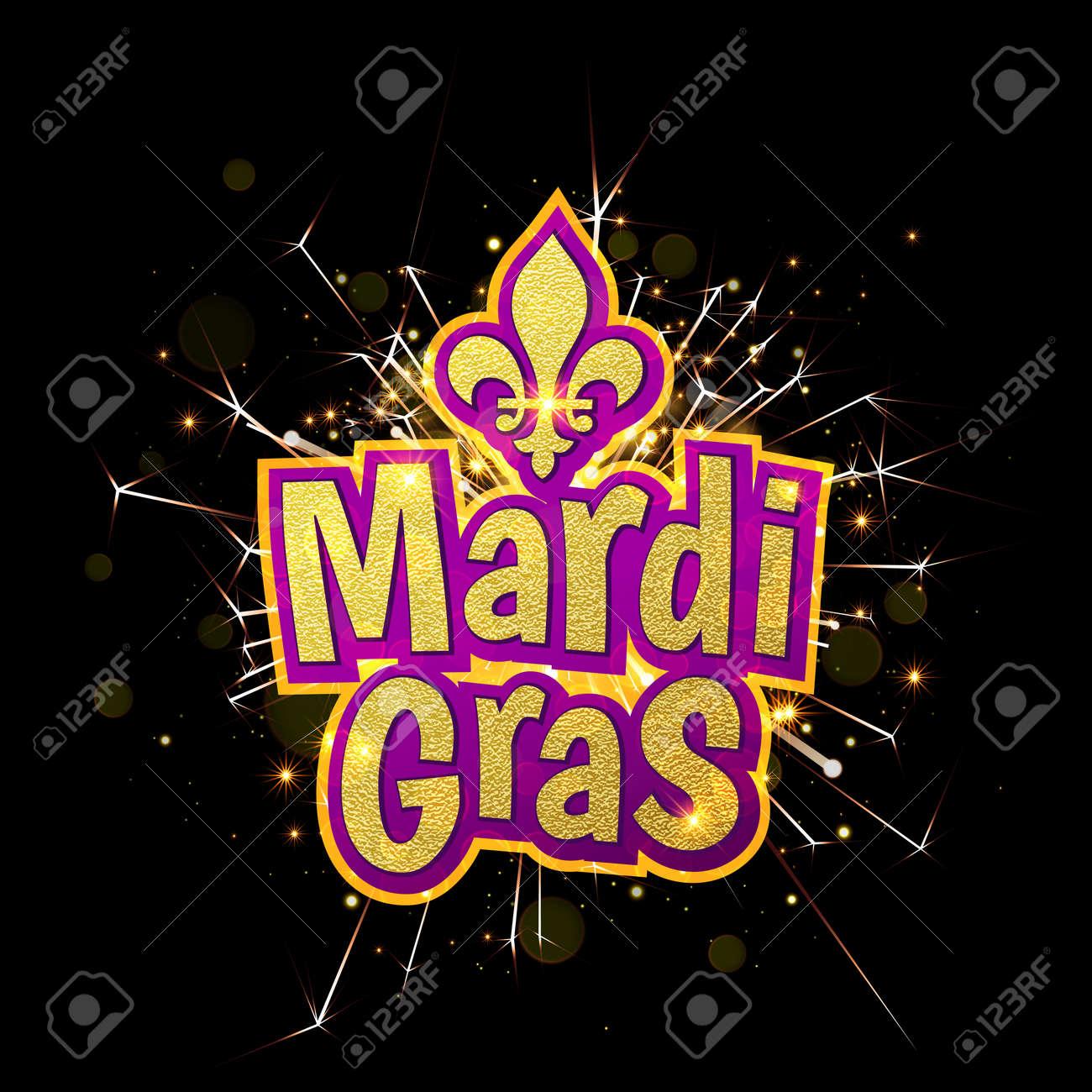 Mardi Gras Gold Glitter Text With Firework Sparkles Fleur De Lis