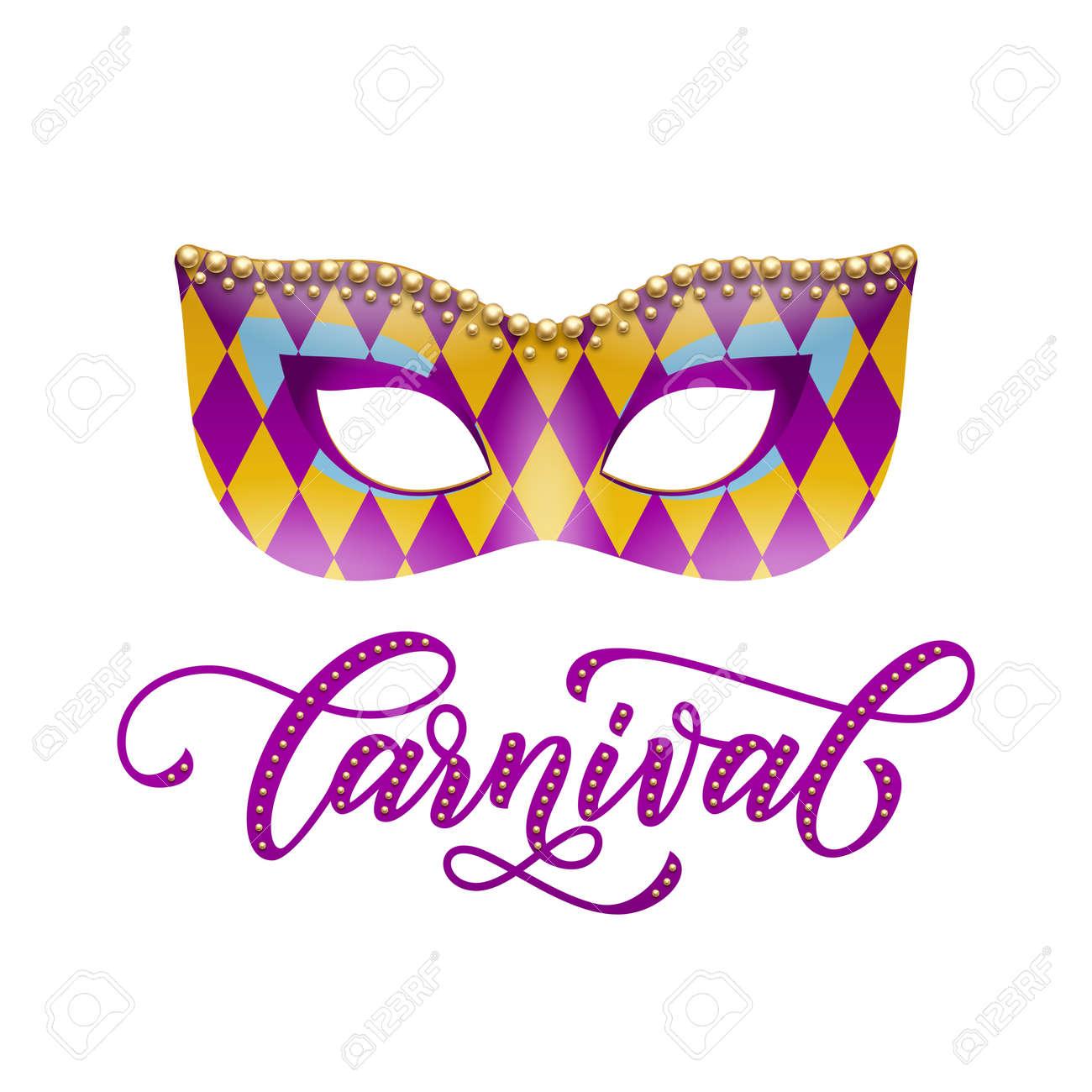 Masque Mardi Gras Avec Motif Arlequin Et Perles Dor Décoration