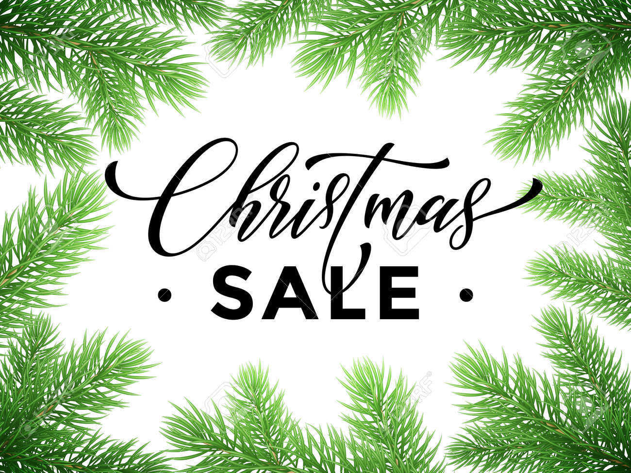 promotion discount sale poster with christmas tree background