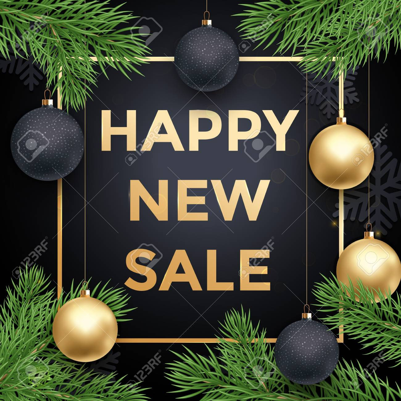 Newy Year Sale Poster Or Promo Gift Card With Gold Text Ball