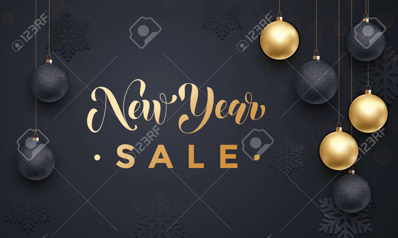 New Year Sale Poster Or Promo Gift Card With Gold Text Ball