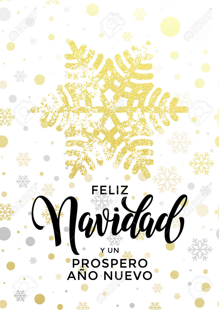Spanish merry christmas text feliz navidad new year prospero ano calligraphy lettering holiday greeting card spanish merry christmas text feliz navidad new year prospero ano nuevo golden glitter snowflake kristyandbryce Images