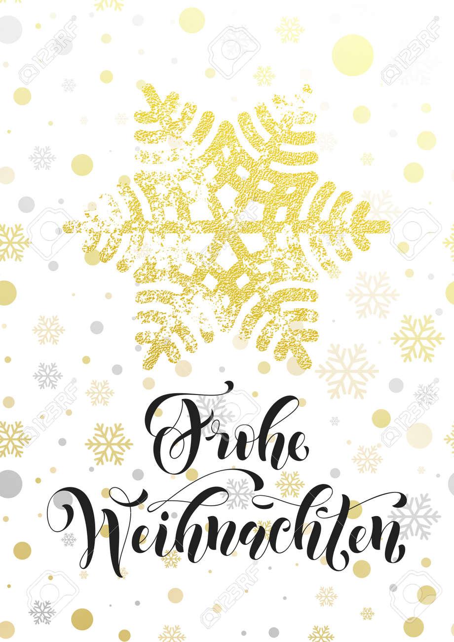 Frohe Weihnachten Gold.German Merry Christmas Text Frohe Weihnachten Golden Glitter