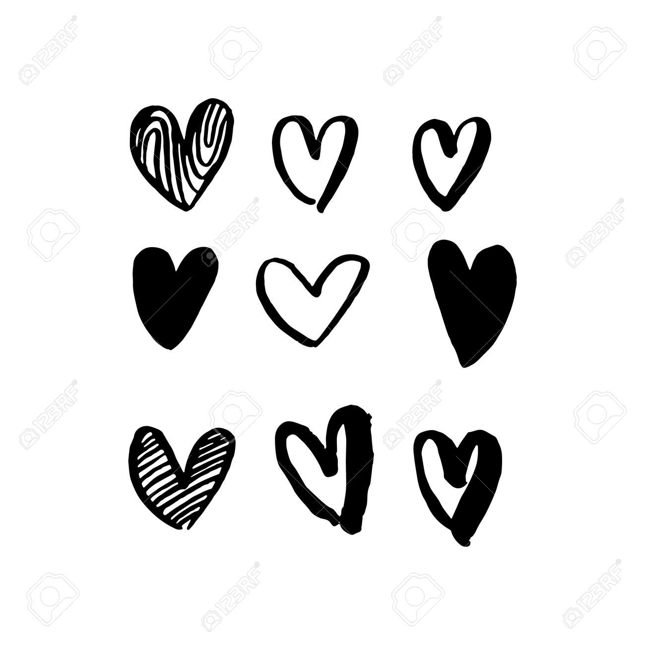 Hearts Hand Drawn Vector Art For Valentine Day Vector Isolated