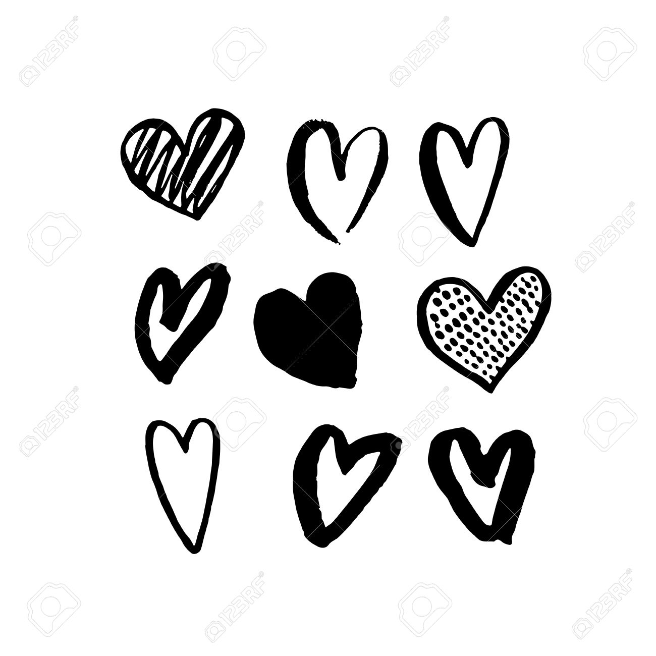 vector heart icons hand drawn art design for saint valentine