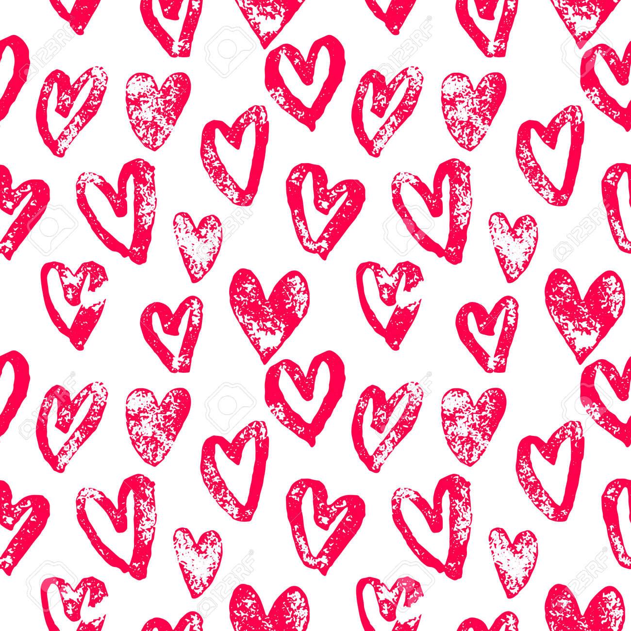 Valentine Day Hearts Pattern Background Of Hand Drawn Heart