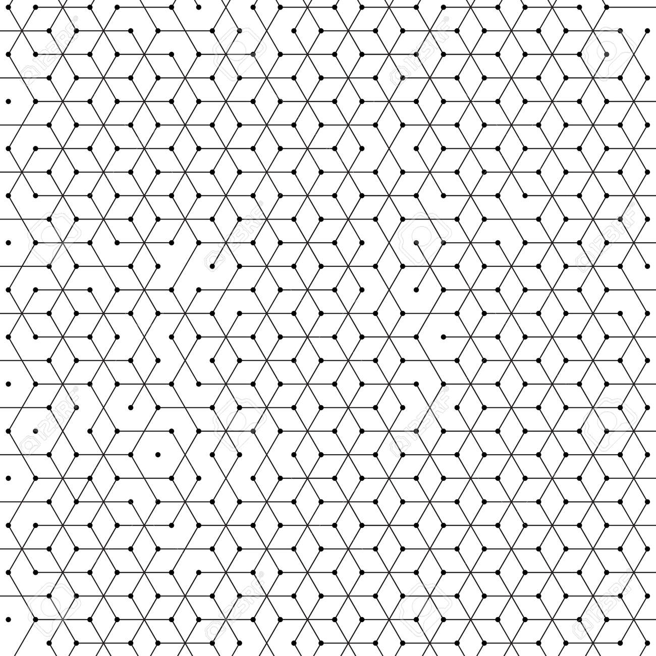 Hexagonal cells background of abstract hexagon geometric mesh pattern. Polygonal net structure of lines connection with dots - 68148423