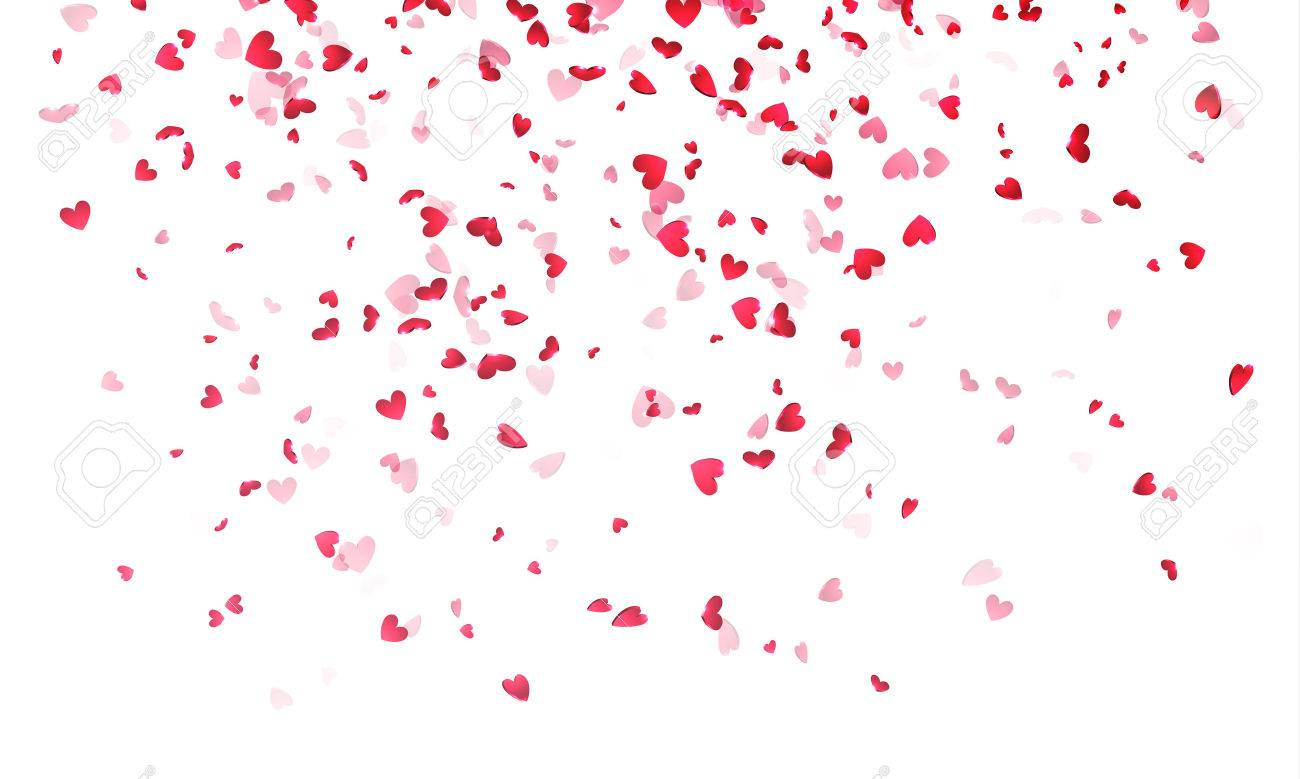 Hearts Background Valentine Day Falling Heart Pink Confetti