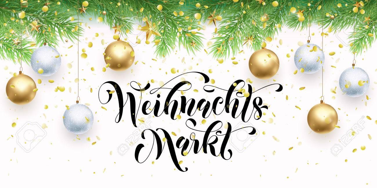 Christmas Sale Market German Text Weihnachtsmarkt Banner Gold ...