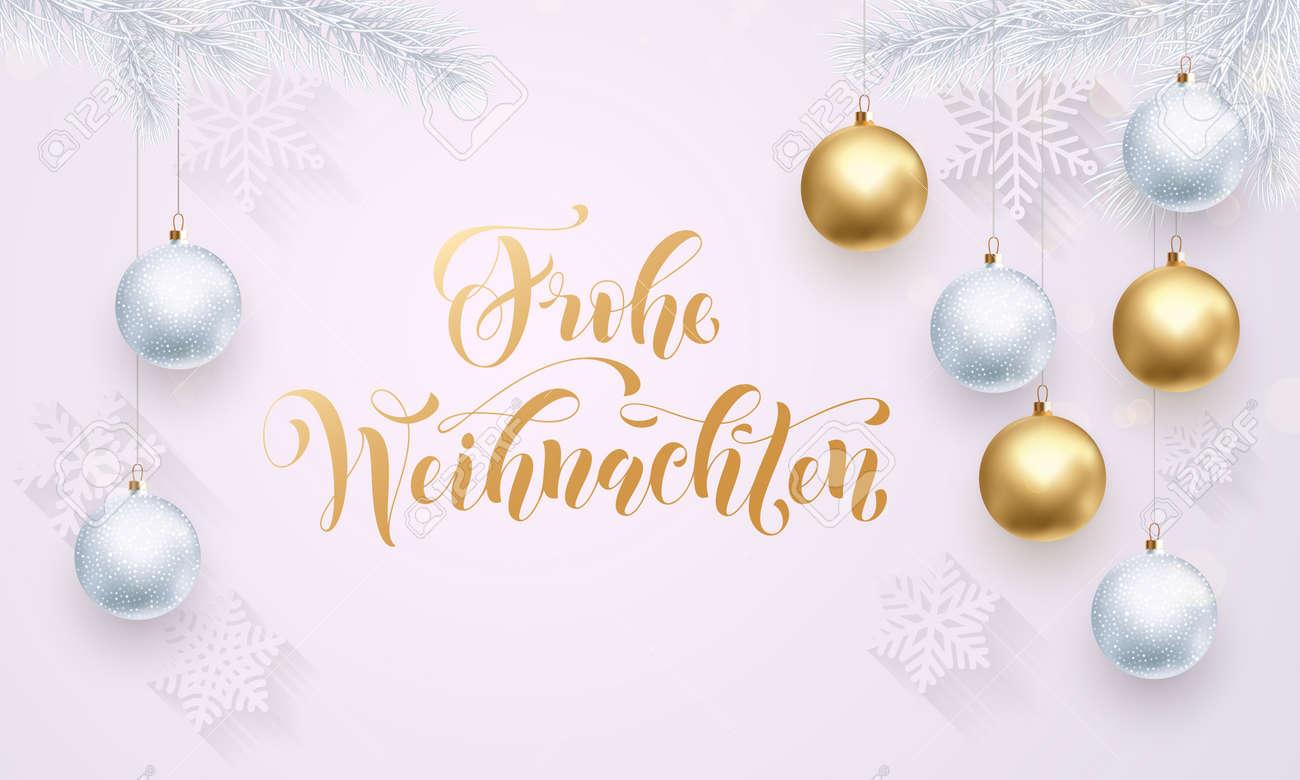 Frohe Weihnachten Gold.German Merry Christmas Frohe Weihnachten Gold Calligraphy Golden