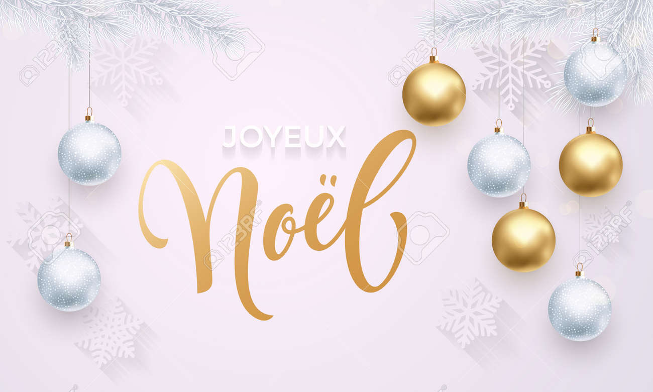 French Merry Christmas Joyeux Noel. Premium Luxury White Background ...