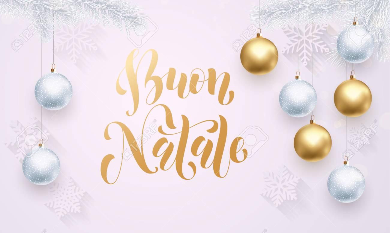 Buon Natale Ornament.Italian Merry Christmas Buon Natale Gold Calligraphy Lettering