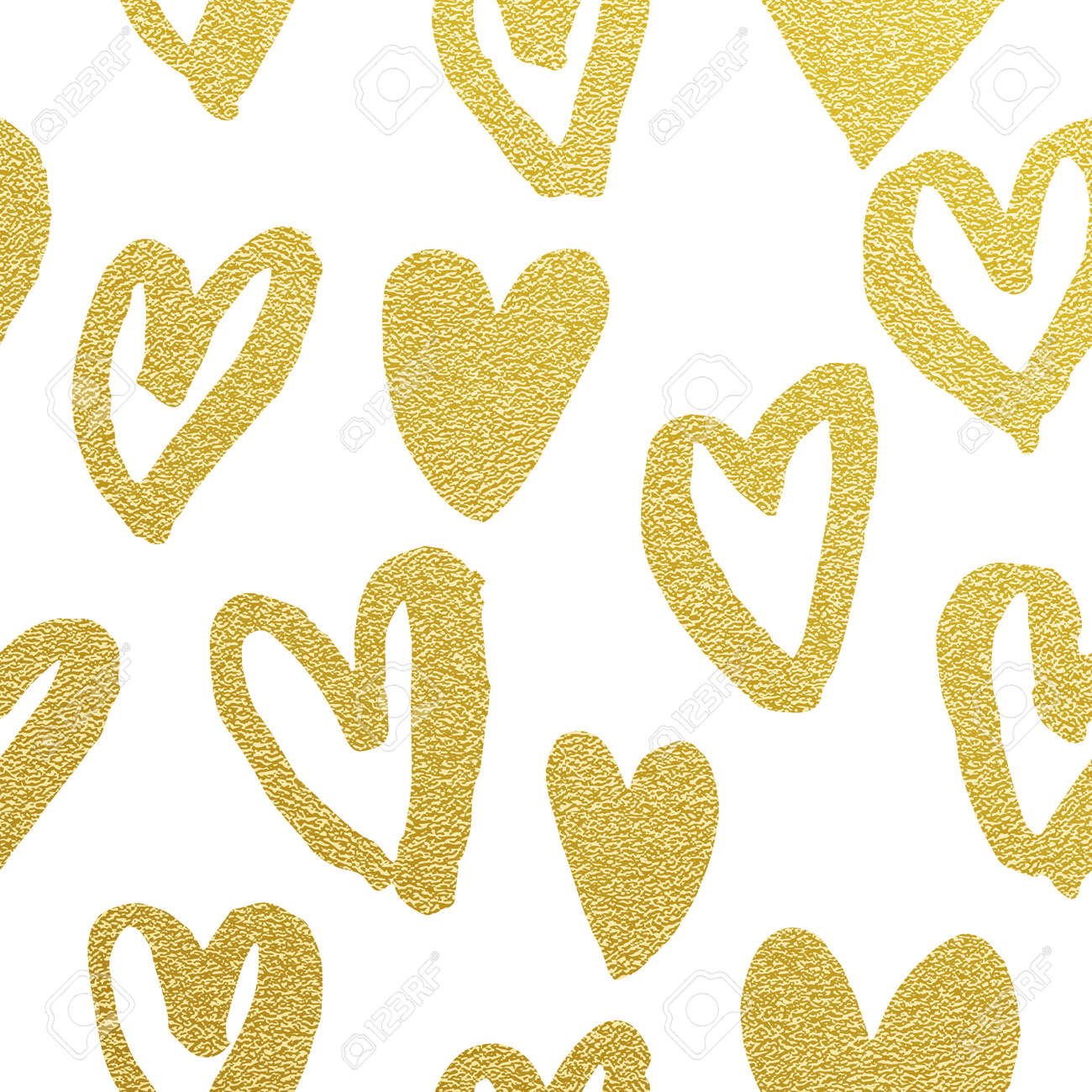 f6a5774824af Valentine Day golden glitter hearts pattern. White background gold  glittering foil heart icons. Seamless