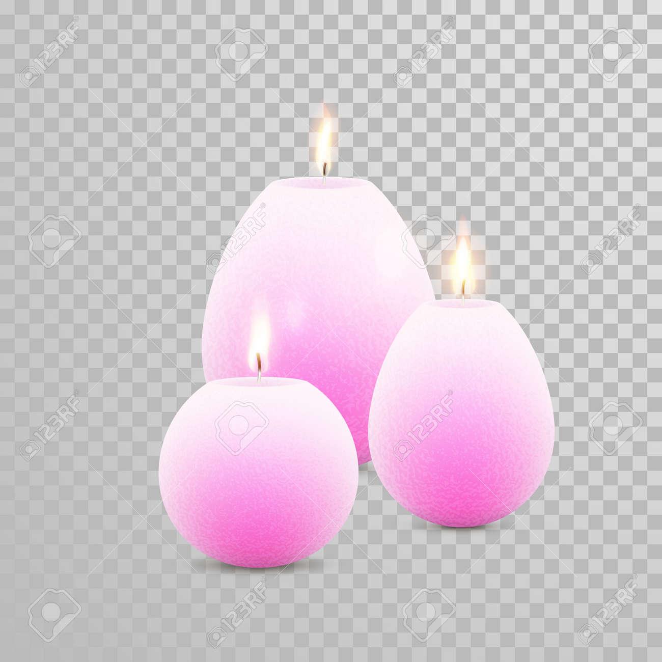 blancs décoratifs bougies de couleur perle fixés. vecteur 3d