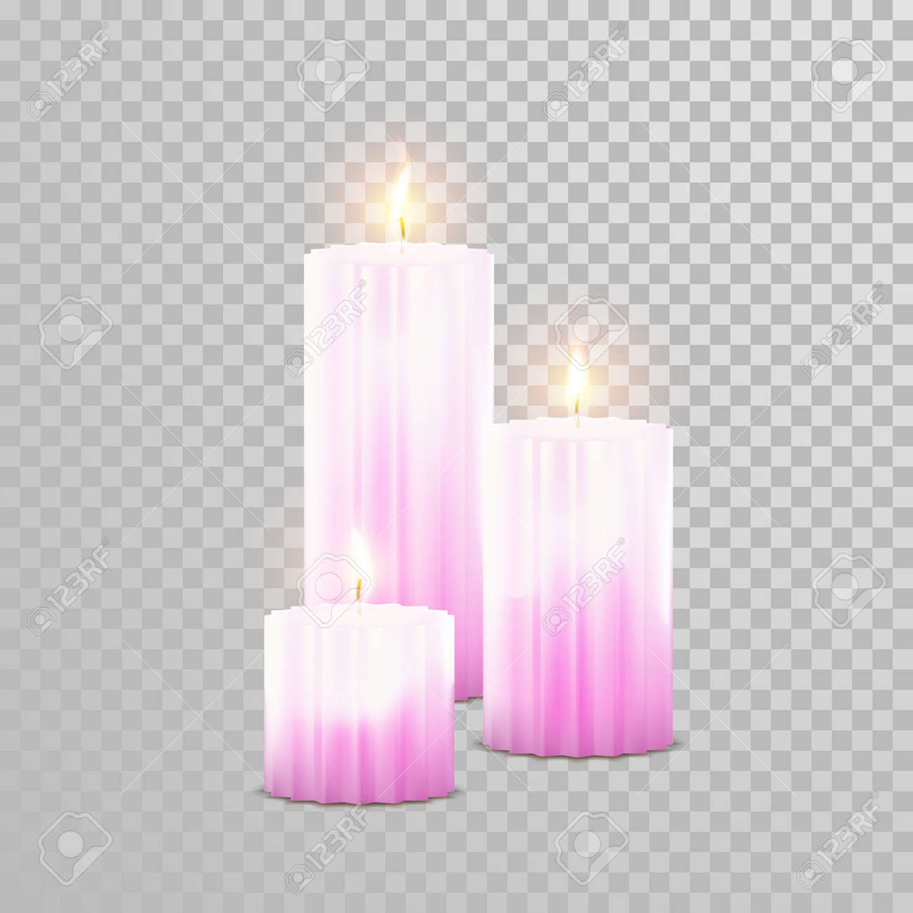 Romantic Pink Red Candle Flame Burning. Aromatic Candles Vector ...