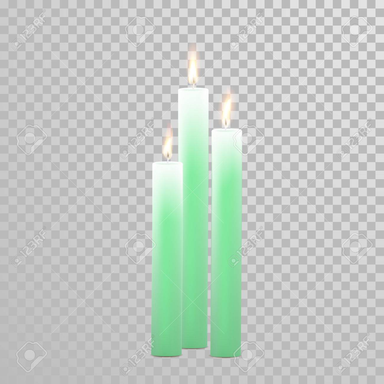 Aromatic Green Candles. Vector 3D Realistic Burning Blue Candle ...