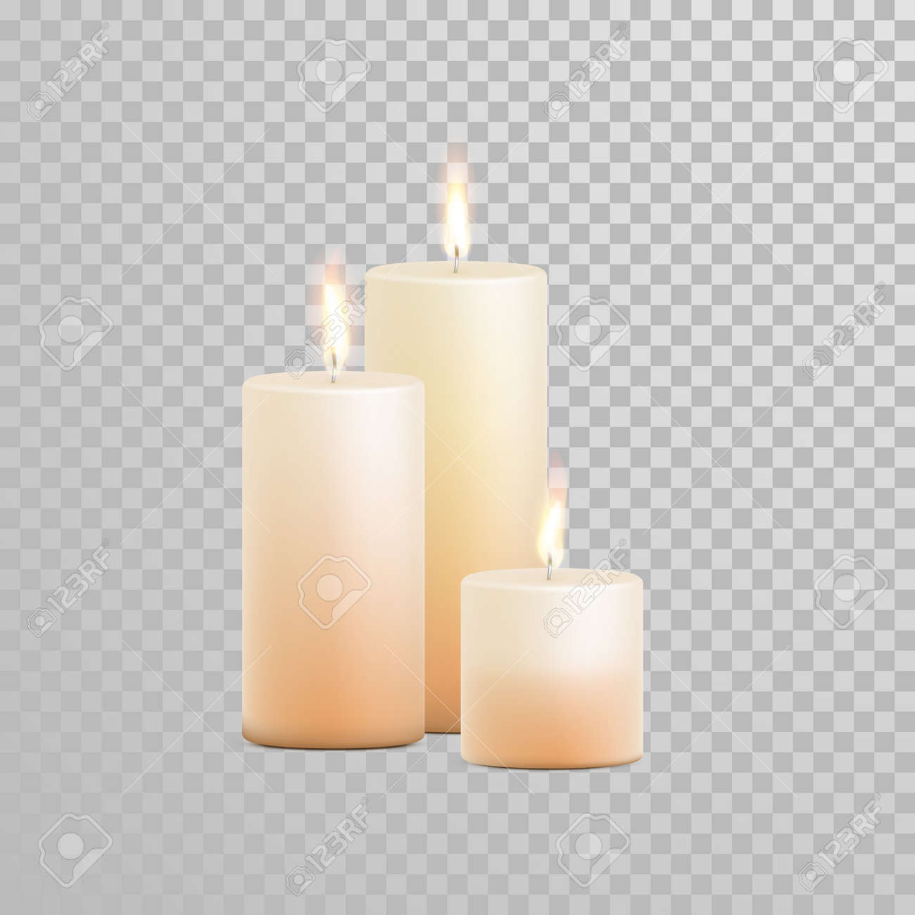 Decorative Candles Set. Vector 3D Realistic Isolated Round ...