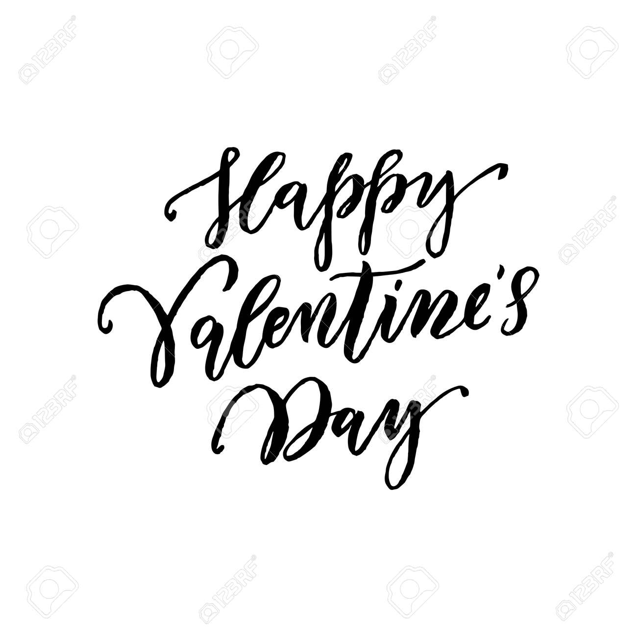 Happy Valentine Day Vector Greeting Card With Black Calligraphy