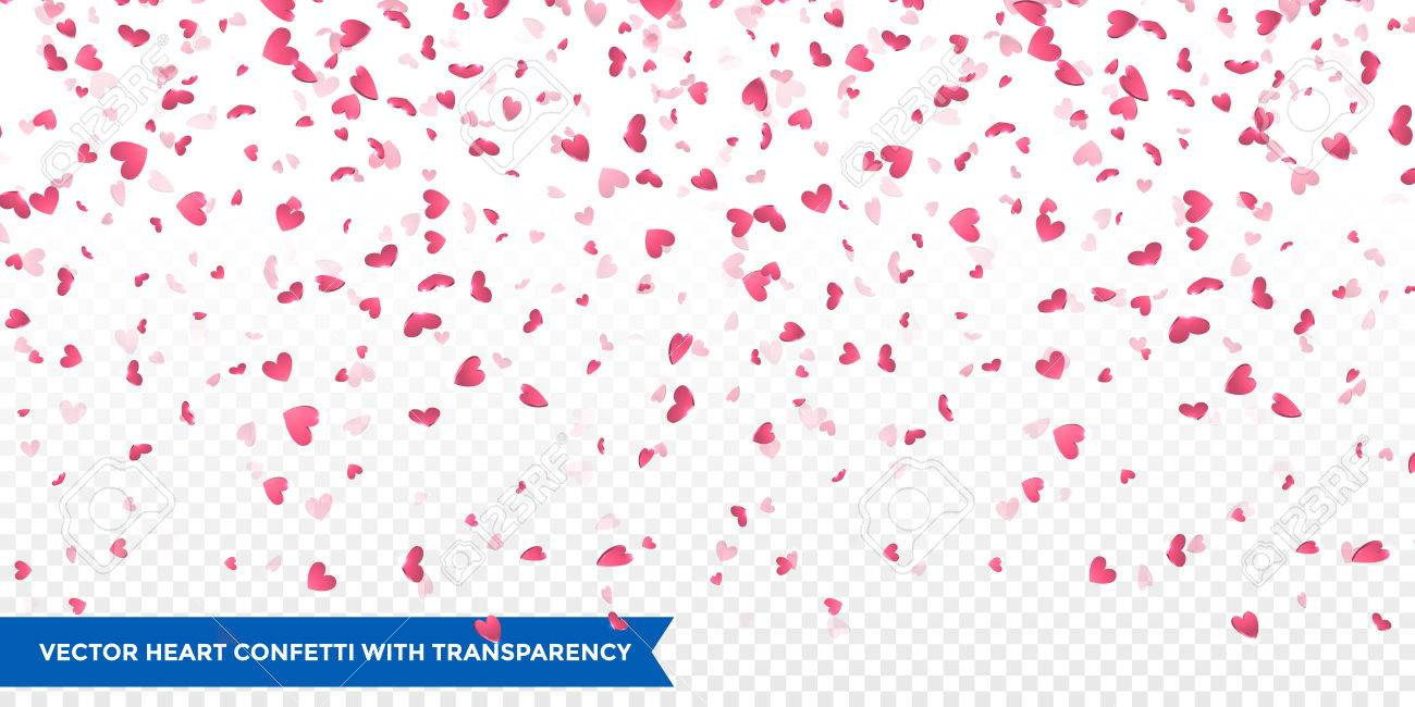 Pink Hearts Petals Falling On Transparent Background For Saint